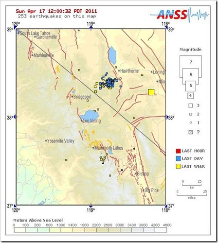 California Nevada Border Earthquake Swarm