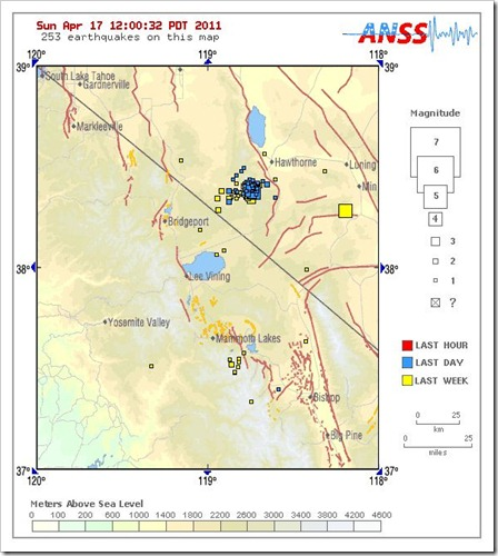 California Nevada Border Earthquake Swarm